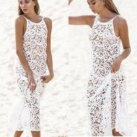 Donna Sexy O-Collo Spaghetti Strap Solid Hollow Bikini Cover-up Summer Dress Allentato Mid-Vitello Casual, Spiaggia