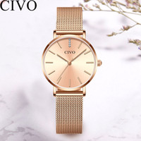 CIVO New Casual Top Brand Women Watches Rhinestone Bracelet Watch Fashion Steel Mesh Strap Watch  Waterproof Quartz Clock