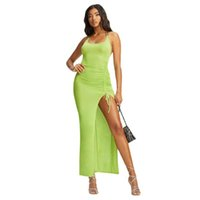 Günlük Elbiseler Anjamanor Neon Yeşil Seksi Yaz Kulübü Bodycon Elbise Kadın Moda 2021 Metal Zincir Halter Backless Yüksek Bölünmüş Uzun D5405