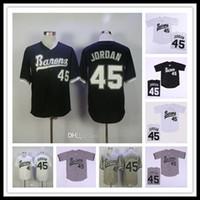 الرجال رخيصة برمنغهام بارونز 45 مايكل MJ فيلم البيسبول مخيط القمصان جميع قمصان رياضية مخيط حجم S-4XL أسود أبيض رمادي شحن مجاني