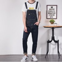 XS- 6XL British feet suspenders jeans men' s Korean versi...