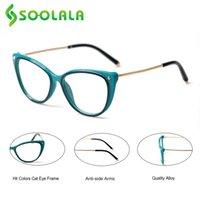 نظارات شمسية Soolala Hit Color Cat Eye Readers Reading Glasses Women Lens Lens Alloy Presbicia Eyeglasses Frame +1.0 1.5 2.0 2.5 3.0 إلى 4.0