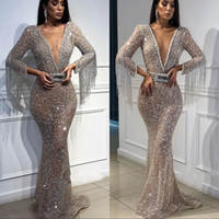 Sexy Prom Party Dress With Bow 2019 Deep V- Neck Mermaid Long...
