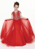 Little V Pescoço Vermelho Sereia Principal Zipper Back Princesa Vestidos de Partido com Tulle Wedding Flower Girls