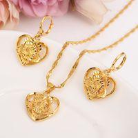 18 k Fine Solid Gold GF Outline border heart flower Europa gioielli da donna bridals Wedding gioielli regalo Dubai pendnat orecchino