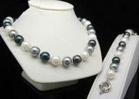"""Ensemble de bijoux Crochet en argentPerles rondes 3 couleurs 12mm noir Bracelet coquille blanche perle grise Collier 18 """"style"""