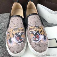 Tasarımlar Deri tekne ayakkabı Loafer Elbise Çiçek baskı Sneaker Lüks Parti Düğün Rahat Ayakkabılar Mektup Düz dipli Nakış tembel ayakkabı 41
