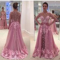 2019 새로운 환상 긴 소매 Zuhair 무라드 플러스 크기 아프리카 아랍 공식 파티 파티 가운 핑크 빈티지 레이스 Overskirt 이브닝 드레스