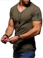 03New men' s solid color round neck sports slim short- sl...