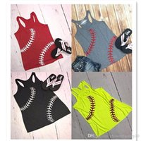 Mulheres Beisebol Tanque de Verão Basebol Impresso Tanques de Esportes Sem Mangas Camisetas Vest Softball Beach Camis Top Girl Coletes