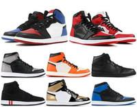 1 Haut JO Hommes Chaussures de basket Banned Bred Toe Ombre Gold Top Meilleure Qualité Designer Hommes Athlétisme Formateurs Sneakers 40-47