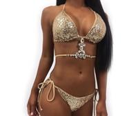 Frauen-Badebekleidung Bikini Kristallrhinestones-Funkeln-Diamant Gems Swimwear Frauen-Bikini-Set Beach-Badeanzug-Badeanzug