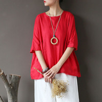 Summer Women Vintage Linen Shirts Loose Solid Colors Batwing...