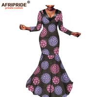 Повседневные платья 2021 африканский макси для женщин афривористый портной сделан три четверти рукава длина пола русалка Batik Party платье A1925027