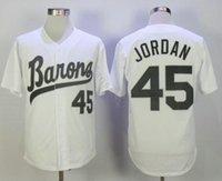 Großhandel Michael Jodan 45 Birmingham Barons Baseball Trikots Weiß Grau Näherter Film Michael Birmingham Barons Retro Baseball-Hemd