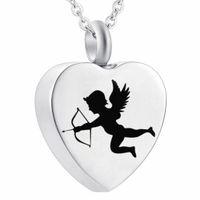 Eternity Memory Love Angel Angel Cupid Кулон ожерелье из нержавеющей стали Кремация пепел Мемориал Урны Ювелирные Изделия для жены Леди / Дочь / подруга