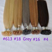 16-26inch # 4 # 18 # 16 # 613 #gray 100% cabelo brasileiro fusão cabelo humano ponta plana extensões de 0,8 g / cadeia 200s extensões de cabelo ponta plana