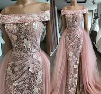 Dusty Pink 3D sirena de las flores vestidos de noche elegante del hombro desmontable de tren más el tamaño de baile vestido 2020 vestido de fiesta formal