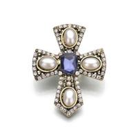 Disparo real del camafeo simulados de perlas broches para las mujeres la cruz del Rhinestone del Pin de metal Brosh Vintage 2019 de Nueva b71