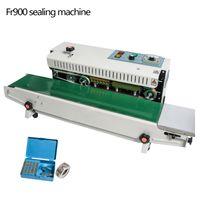 Envío libre vía DHL! FR-900 máquina de sellado de película continua automática, máquina de paquete de bolsa de plástico, sellador de banda Ampliación de la alimentación