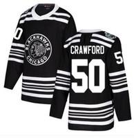 시카고 BlackHawks # 50 Crawford Black 2019 겨울 스티치 저지, 성격 망 스포츠 트레이너 하키 유니폼 셔츠 싼 남자