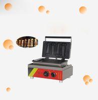 110 / 220V 스테인레스 스틸 거근 불타는 음경 와플 기계 4 개 자동 음경 롤리 머핀 와플 메이커 기계