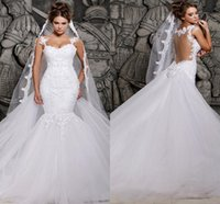 2020 Элегантный Аппликация Кружева Русалка Свадебные Платья Со Съемным Поездом Арабский Африканский Свадебные Платья Overskirts Пользовательские Vestidos De Novia