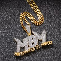 Zircone Lettera MBM Iced Out Ciondolo Collana Mens Collana Gioielli Mens 14K Placcato oro Catena con diamanti Bling Monili hip-hop con collegamento cubano da 24 pollici