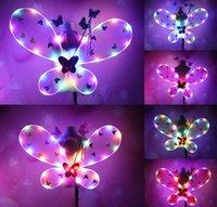 Девушка LED крылья бабочки комплект со светящейся юбкой пачкой волшебная палочка повязка на голову сказочная принцесса Light Up Party Carnival Costume gift SN1108