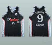 Salius Stombergas # 9 Kinder Bologna Bolonia Retro Basketbol Jersey Erkek Dikişli Özel Herhangi Bir Numara Ad Adseys