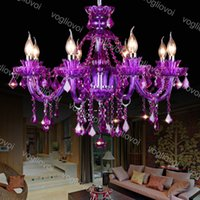 Crystal Chastelier Purple K9 Светодиодная нить E14 3500K 6500K Подвеска 30 см Подвесной светильник Светильник Home Освещение 110 В-240 В DHL