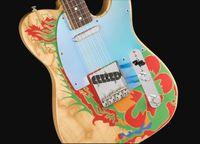 Masterbuilt Jimmy Page Dragon Natural Tele Electric Guitar Ash Body, Rosewood 핑거 보드, 새틴 매트 완료, 빈티지 튜너, 크롬 미러 피크 가드