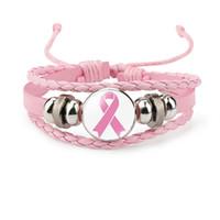 Neue Brustkrebs-Bewusstseins-Armband für Frauen-Bandcharme Glauben-Hoffnungs-Liebes-umsponnenes ledernes Seil Verpackungs-Armband-Art- und Weiseschmucksachen