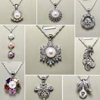 Parel ketting voor vrouwen 925 Sliver hanger instellingen 18 stijlen DIY parel ketting sieraden instellingen met ketting bruiloft DIY cadeau