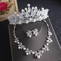 Luxueux Feuille de cristal Bling Bijoux de mariage Crown Crown Collier Boucle d'oreille Ensembles Quinceanera Party Bijoux Formal Evénements Bijoux de mariée