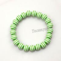 Braccialetti in rilievo della resina della zebra della banda 10mm di colore verde all'ingrosso 10mm Elastic per il presente di anno nuovo