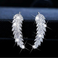 2019 New Arrival Hot Sale Luxury Jewelry 925 Sterling Silver Pave White Sapphire CZ Diamond Leaf Feather Stud Earring For Women Giift