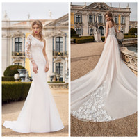 2019 Gorgeous Unilateral Long Sleeve Wedding Dresses with De...