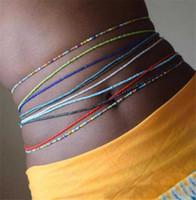 Boho Tredny 여성 다채로운 쌀 구슬 허리 체인 여름 해변 패션 바디 쥬얼리 섹시한 배꼽 체인 액세서리