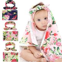 Neugeborenes Baby schlafen gewickelt Decken Kaninchen Ohren Stirnband Set gedruckt große Pfingstrose Blume Handtücher Kinder Baumwolle Haarschmuck