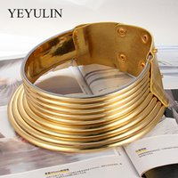 Gold Color Leather Collar Vintage Statement Choker Necklace Women Maxi Necklace African Jewelry Adjustable Choker