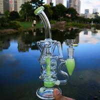 10 polegadas dupla reciclador beaker vidro bong fab ovo turbina percolador Óleo amotecas plataformas de água bongs 14mm fêmea articulação tubulações de água com tigela