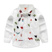 2 -10 ano novo meninas bebê mangas compridas camisa adorável bordado crianças camisa de outono puro algodão roupas de algodão