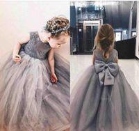 그레이 공주님 플라워 걸 드레스 쥬얼리 빅 보울 레이스 Applique Girls 미식가 드레스 for Children Children A Line Kids Birthday Dress