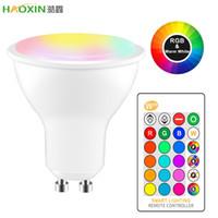 HaoXin 10W IR 원격 제어 GU10 RGB LED 전구 85-265V 분위기 조명 16 색 변경 가능 장식 조명 따뜻한 화이트