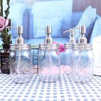 DIY Hand Seifenspender Pumpen Edelstahl Lids Mason Jar Glas Transparent Relief Duschgel-Flaschen-Qualitäts-7JA E1