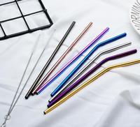 6 * 215mm 304 paille en acier inoxydable plié et droite réutilisable coloré paille à boire pailles métal paille plus propre brosse brosse outil à boire