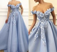 Da sera blu Charming Dresses 2020 A-Line al largo della spalla Flowers Appliques Dubai Arabia arabo abito da sera lungo di promenade dell'abito