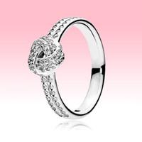100% 925 Sterling Silber Ring CZ Diamant Frauen Hochzeit Schmuck Für Pandora Shimmering Knotenring mit Originalkasten