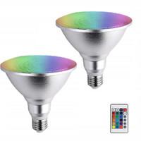 E27 PAR38 LED 스포트라이트 Dimmable RGB 전구 마법 무대 조명 10W 20W 30W 색상 변경 전구 램프 야외 홍수 빛 원격 제어